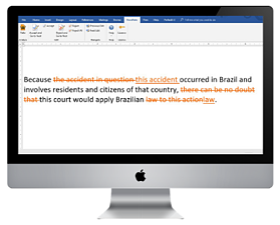 Mac screen with edit